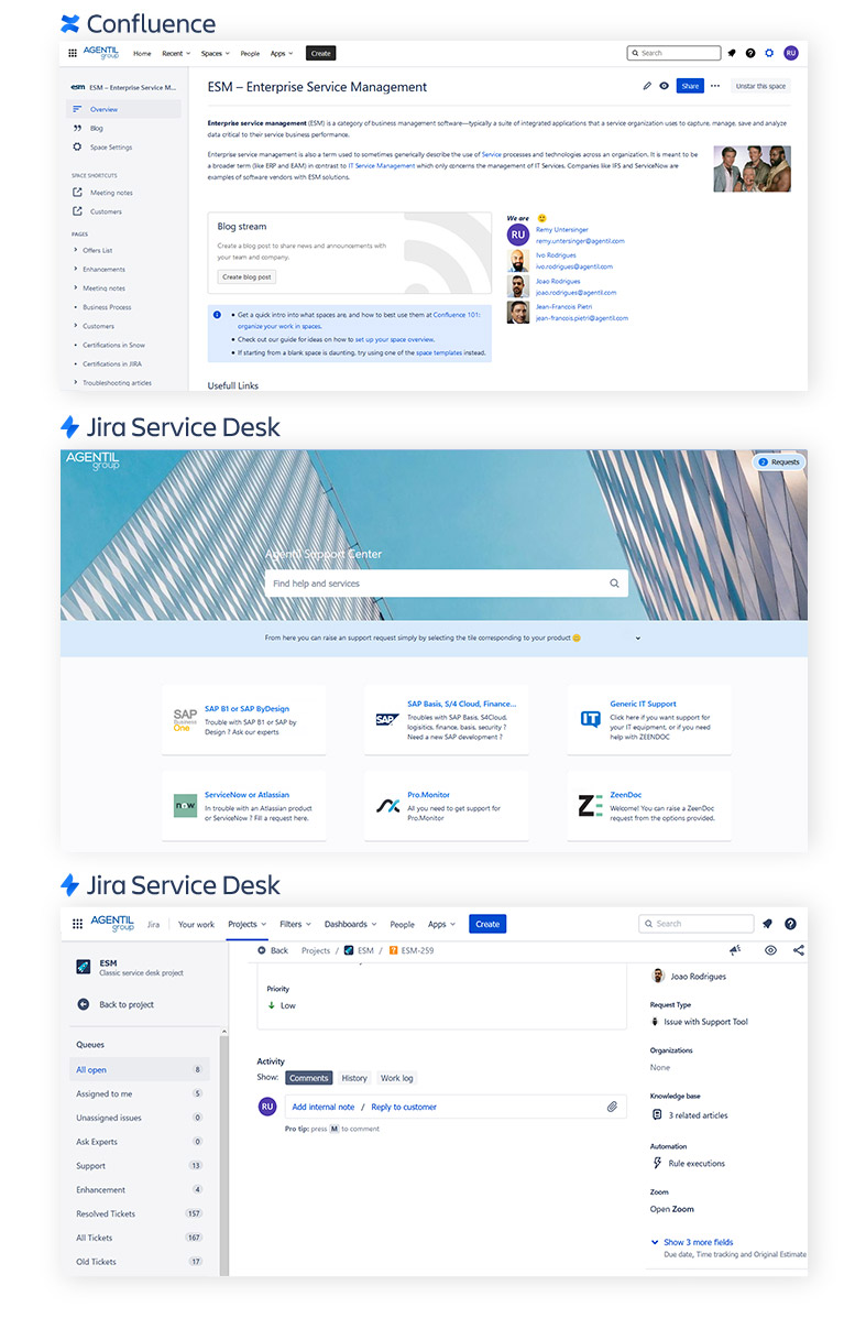 Atlassian Suite Screenshots Jira Service Desk and Jira Confluence